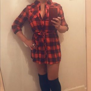 Red plaid button up dress